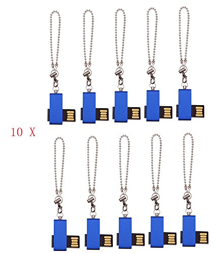 FEBNISCTE 100pcs Bulk Pack Mini Metal Blue Swivel 256MB Flash Memory Stick by FEBNISCTE