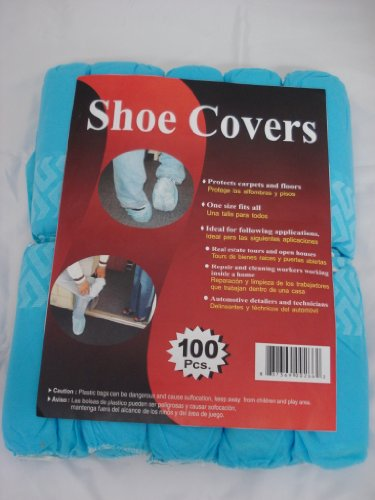 Disposable Polypropylene Shoe Covers, L, 100-Pack DSC100 Blue