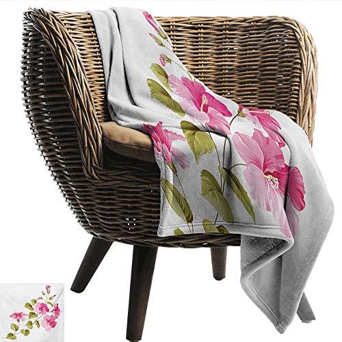"EwaskyOnline Flower Comfort Blanket Tropic Wild Hibiscus Flower Branch with Fresh Leaves Exotic Flora Concept car/Airplane Travel Throw 51"" W x 60"" L Pink Green White"
