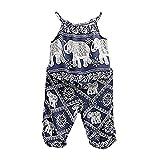 2Pcs/Set Kids Baby Girls Elephant Jumpsuit Romper, Straps Tops+Harem Pants Outfit (3-4 Years, Blue)