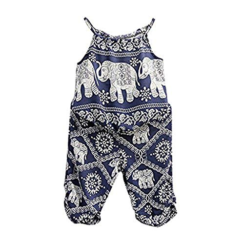 (2Pcs/Set Kids Baby Girls Elephant Jumpsuit Romper, Straps Tops+Harem Pants Outfit (3-4 Years, Blue))