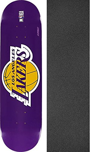 Aluminati Skateboards NBA LA Lakers Woody Skateboard Deck - 8'' x 32'' with Jessup Griptape - Bundle of 2 Items by Aluminati Skateboards
