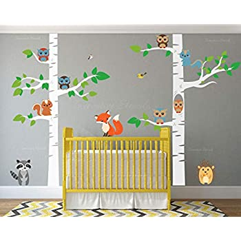d81e228d14 Birch Tree Wall Decal Forest with Owl Birds Squirrels Fox Porcupine Racoon Vinyl  Sticker Woodland Children Decor Removable #1327 (96