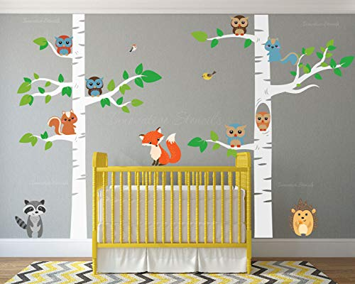 Birch Tree Wall Decal Forest with Owl Birds Squirrels Fox Porcupine Racoon Vinyl Sticker Woodland Children Decor Removable #1327 (96