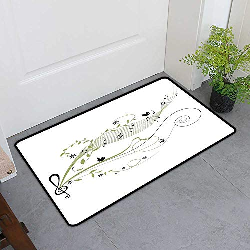 Custom&blanket Absorbs Mud Doormat, Music Decorative Rugs for Kitchen, Musical Fantasy Springtime Happiness Freedom Natural Life Leaf Trees Image (Apple Green White, H36 x W60)
