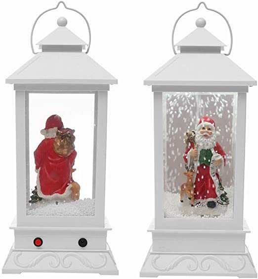 Amazon Com Highpot Christmas Snow Globe Water Lantern Lamp With Music Santa Snowflakes Led Lights And Music Playing Table Top Decoration Gift B Home Kitchen