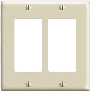 Leviton 80409-NI 2-Gang Decora/GFCI Device Wallplate, Standard Size, Ivory