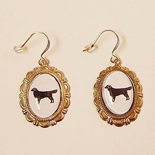 Silhouette Earrings: Amazon.com: Golden Retriever Dog Earrings Silver Cameo