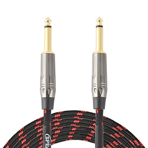 20 Feet Guitar Instrument Cable, 1/4 Inch TS to 1/4 Inch TS, 1/4 Straight Gold Plugs, Black/Red Braided Tweed Cloth Jacket, Premium Electric Instrument Bass Cable AMP Cord, by SPKFRIENDS by SPKFRIENDS
