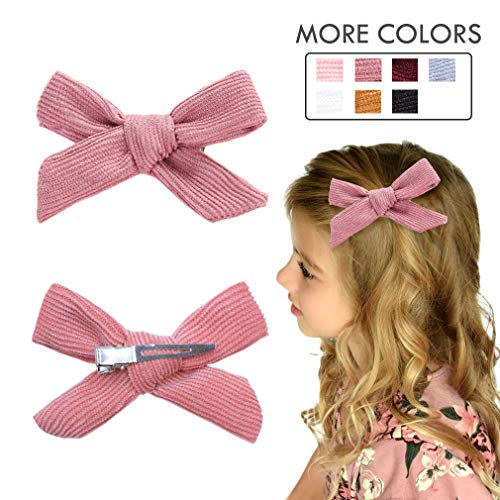 Hair Bows Clip Pink Ribbon Knotted Hair Alligator Clip Boutique Accessories for Newborns Little Girls Toddlers ()