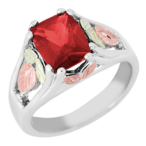 (Landstrom's Black Hills Sterling Silver Synthetic Ruby Ring with 12k Gold Leaves - Size)