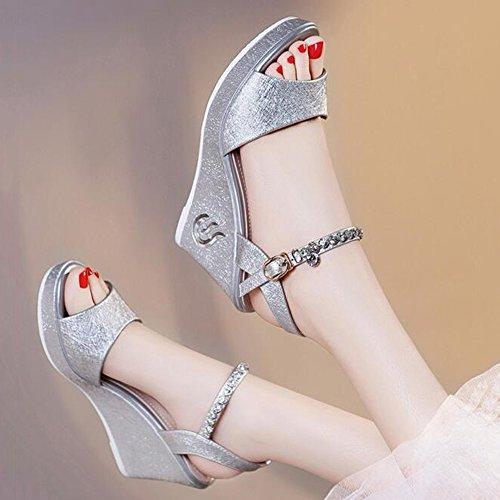 HAIZHEN Women shoes Women's Shoes PU Spring Summer Sandals Wedge Heel Open Toe Split Joint for Dress White Black for Women (Color : Silver, Size : EU36/UK3.5/CN35) Silver