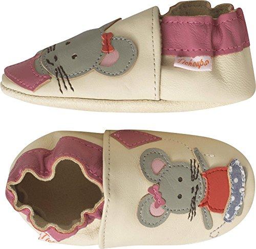 Tichoups chaussons bébé cuir souple emilie la souris