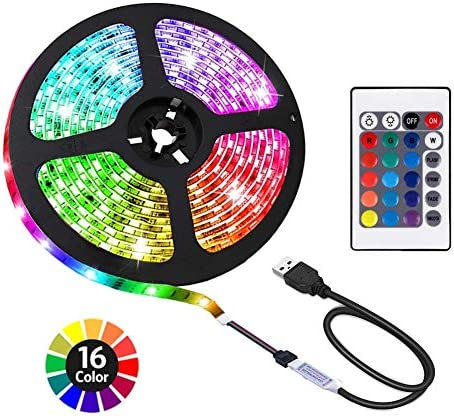 ACONDE 6.56 ft USB LED Strip Lights, DIY Indoor Decoration, TV Backlight, 24 Keys Remote