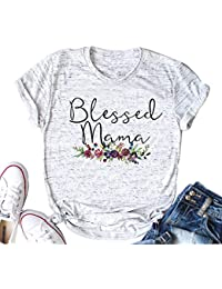 GACIN Mama Bear Womens Summer Classic-Fit Short-Sleeve Big Size T-Shirt White