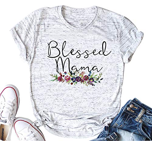 YUYUEYUE Women's Blessed Mama Letters T Shirt Short Sleeve Tops Tee (Small, As Show)