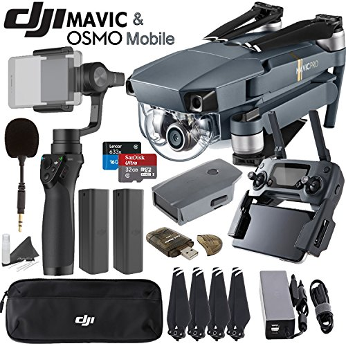 DJI-Mavic-Pro-Collapsible-Quadcopter-Osmo-Mobile-Combo-Includes-FlexiMic-SanDisk-32GB-MicroSD-Card-and-more
