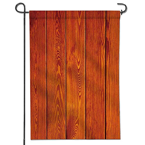 Jiahonghome Garden Flag Beach Pool Burnt OrangeCollection Wood Texture with Natural s Oak Timber Tree Floor Ative Design Polyester, Yard Flag to Brighten Up Your Home16 x 24