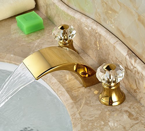 Rozin brass waterfall faucet pull down brass rozin faucet - Gold bathroom faucets with crystal handles ...