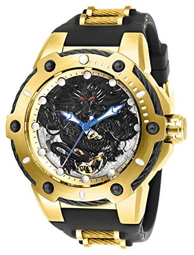 Invicta Men's Bolt Mechanical 3 Hand Gold, Black Polyurethane Watch
