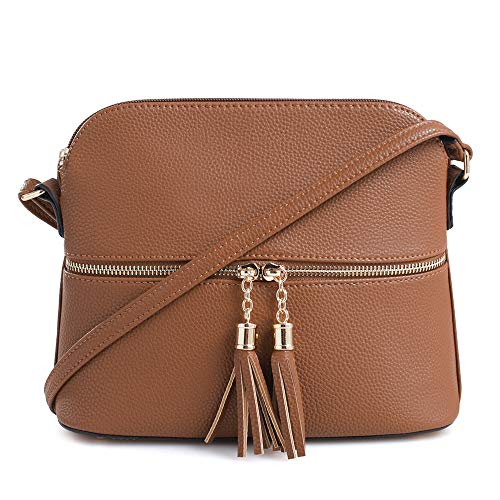 SG SUGU Lightweight Medium Dome Crossbody Bag with Tassel | Zipper Pocket | Adjustable Strap (Tan) ()