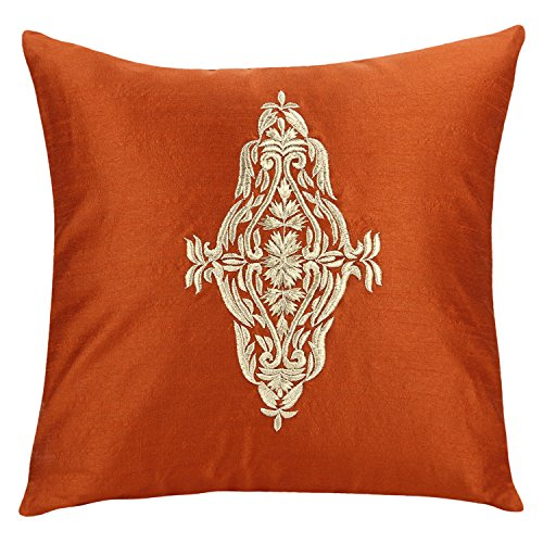 Rust Damask Accent Pillow Cover For Couch - Rust Gold Throw Pillow Cover - Embroidered Decorative Pillows For Bed (Rust, 18x18 inches)- By The White (Orange Silk Accent Pillow)