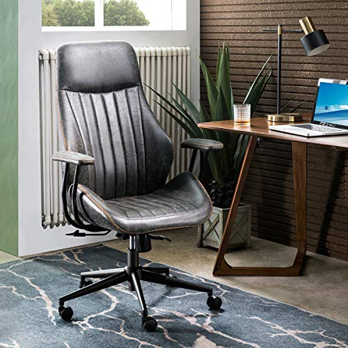 OVIOS Ergonomic Office Chair,Modern Computer Desk Chair,high Back Suede Fabric Desk Chair with Lumbar Support for Executive or Home Office (Dark Grey)