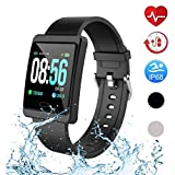 Mgaolo Smart Watch,Fitness Activity Tracker with Change Brightness Screen,IP68 Swimming Waterproof Fit Watch Wristband with Heart Rate Sleep Monitor for Android & iPhone (Black)