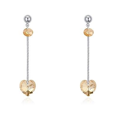 8e05729e579e NEVI Heart Swarovski Crystals Rhodium Plated Dangle   Drop Earrings  Jewellery for Women And Girls (Brown)  Amazon.co.uk  Jewellery