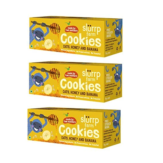 Slurrp Farm Healthy Wholegrain Cookies, Oats  Banana And Honey With Zero Transfat, Yummy Snack For Kids, 75g (Pack Of 3)