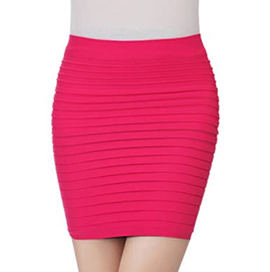 Cther - Falda - trapecio - para mujer Rosa hot pink Talla única ...