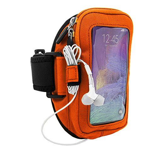 Fitness Zippered VG Armband Case for ZTE Blade Max View, Majesty Pro Plus, Sonata 3, Grand X 4, Nubia X, Axon 9 Pro, Smartphones up to 6.4in, Orange