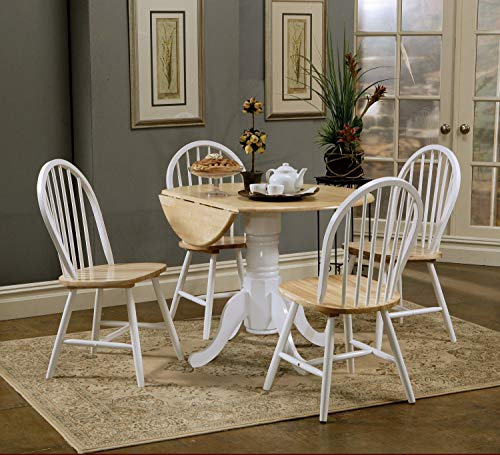 Damen Round Pedestal Drop Leaf Table Natural Brown and White ()
