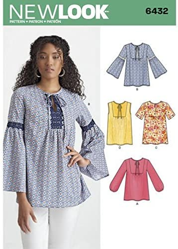 Misses/' V-Neck Fitted Blouse with Optional Pintuck or Lace Trim Bodice in Five Variations Sz 8 thru 18 New Look Top Pattern 6563