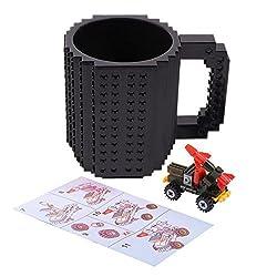 FUBARBAR Build On Brick Mug - BPA-Free 12oz Blocks Coffee Cup, Comes with Build-On Building Bricks, Plastic Mug for Coffee Tea Beverage Drinking, Creative and Funny (Black)