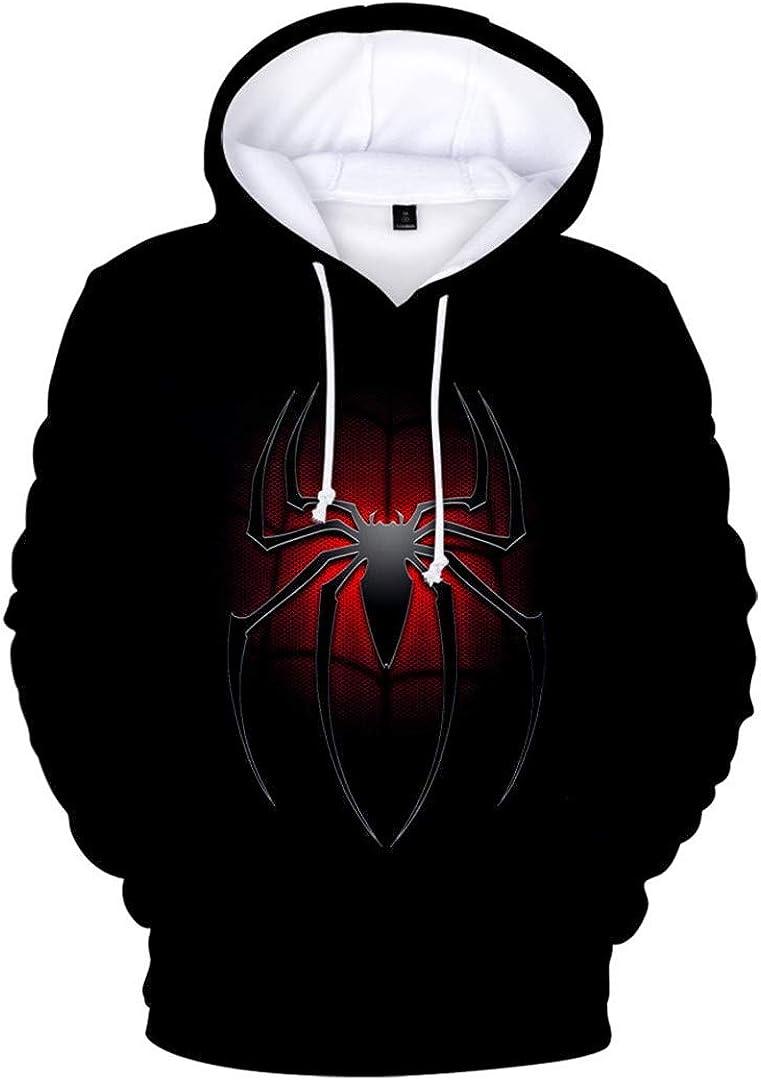Silver Basic Sudadera con Capucha Spiderman Fashion 3D de Manga Larga para Hombre