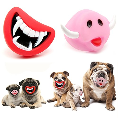 WHOMEC Puppy Dog Toys Big Red Chewing Squeaky toy Rubber for Pet Dog with Sound Squeaker Squeaky Toys (Demon Mouth + Ivory Pig) ()