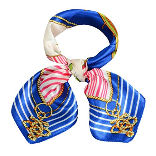 Sothread Women Printing Square Scarf Head Wrap Occupation Kerchief Neck Shawl collar (Blue)
