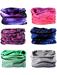 6PCS Outdoor Magic Headband Elastic Seamless Bandana Scarf UV Resistence Sport Headwear Boho Series for Yoga Hiking Riding Motorcycling