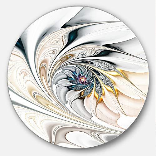 Art Com Stained Glass Print - Designart MT10276 C23 White Stained Glass Floral Art Floral Disc, 23