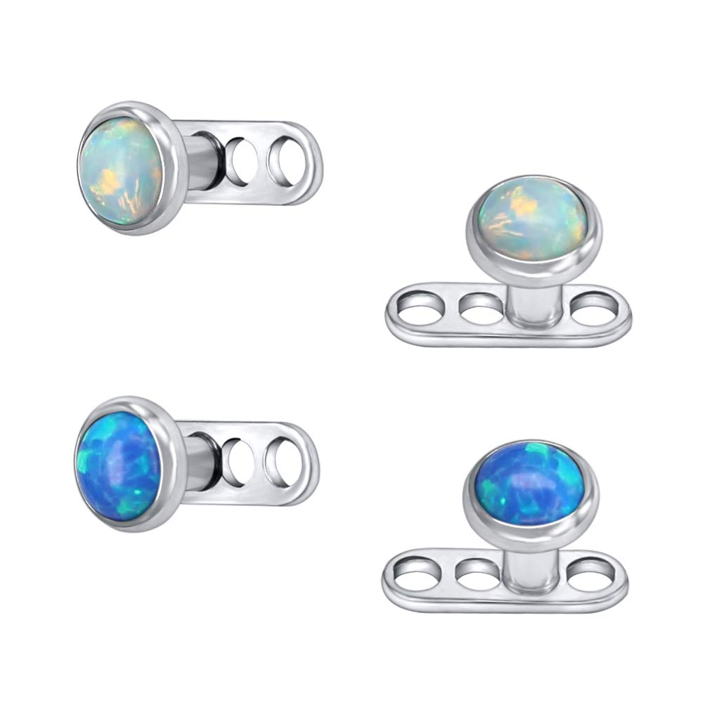 14G Opal Stone Dermal Anchor Tops and Base 316L Surgical Steel Microdermal Piercing Body Jewelry 4pcs by Pierced Art Trends