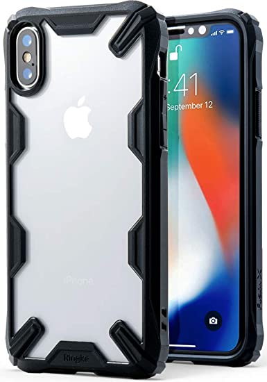 huge selection of 0a920 68911 Ringke [Fusion-X] Case Compatible with iPhone X, iPhone 10, Ergonomic  Transparent [Military Drop Tested Defense] Hard PC Back TPU Bumper Impact  ...