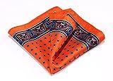 HISDERN Paisley Floral 100% Natural Silk Printed Pocket Square Mens Fashion Classic Handkerchief,Orange & Blue,One Size