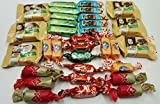 russian chocolate - Assorted Russian Candy (Alenka, Grilyazh, Batonchik, Korovka, Romashka, Honey Mishka Grilyazh). Includes Our Exclusive HolanDeli Chocolate Mints