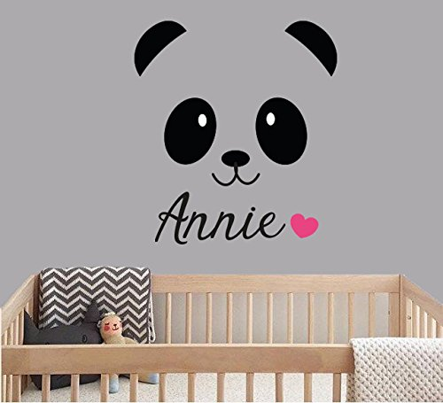Custom Name Cute Panda Bear - Animal Series - Baby Girl - Nursery Wall Decal For Baby Rom Decorations - Mural Wall Decal Sticker For Home Children's Bedroom (J287) (Wide 18
