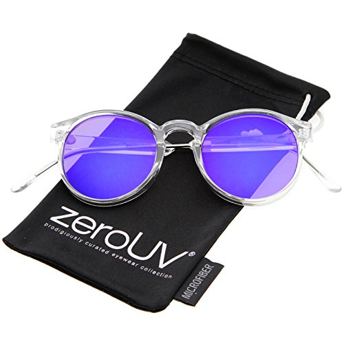 Clear Frame Metal Temple Color Mirror Flat Lens P3 Round Sunglasses 49mm (Clear-Silver/Blue Mirror)