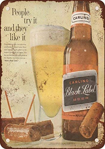 (GKrepps 1961 Carling Black Label Beer Vintage Look Reproduction Metal Tin Sign 12X8 Inches)