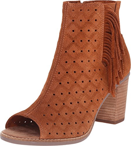TOMS Women's Majorca Peep Toe Bootie Cinnamon Suede Perforated/Fringe 8 B US