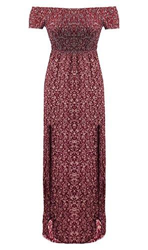 Elegante Mujer Fuera de Maxi Floral Vino de de Noche Playa Hendidura Vestido Tinto Rojo Largo Fiesta de Lateral Falda Hikong Hombro Verano TWgFqtgP
