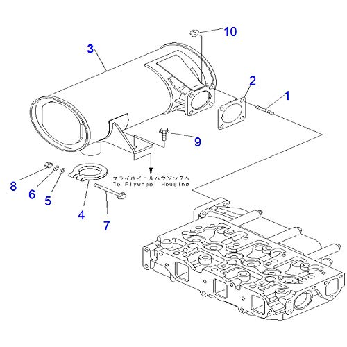 Muffler YM129240-13530 for Komatsu Excavator PC35MR-2 PC35MR-3 Engine 3D84E